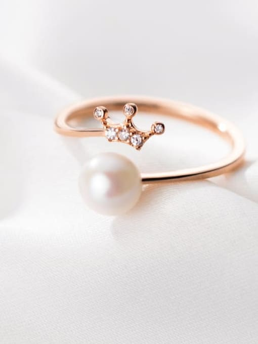 Rosh 925 Sterling Silver Imitation Pearl Crown Minimalist Band Ring 0