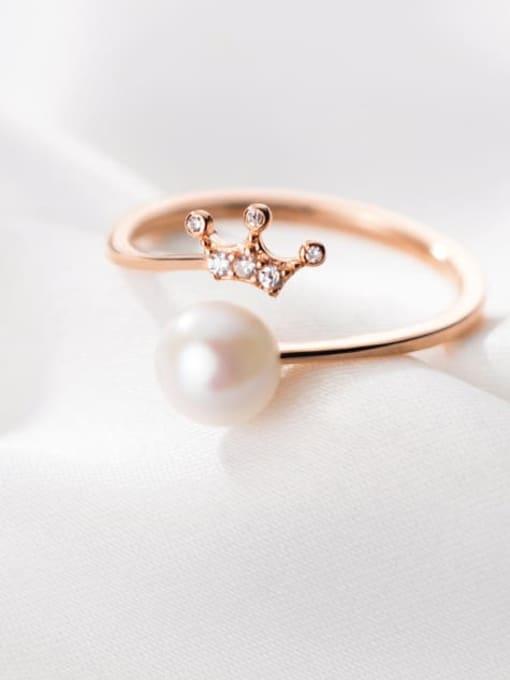 Rosh 925 Sterling Silver Imitation Pearl Crown Minimalist Band Ring