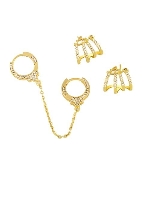 CC Brass Cubic Zirconia Tassel Hip Hop Single Earring 0