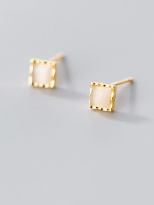 Rosh 925 Sterling Silver Cats Eye Geometric Minimalist Stud Earring