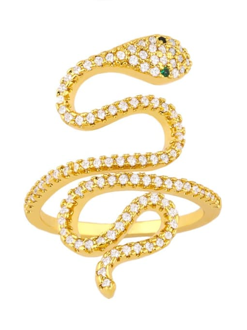 gold Brass Cubic Zirconia Snake Vintage Band Ring