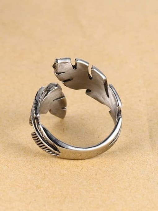 CONG Stainless steel Feather Vintage Band Ring 3