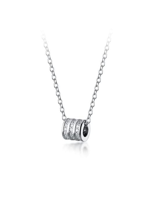 Rosh 925 Sterling Silver Cubic Zirconia Round Minimalist Necklace 3
