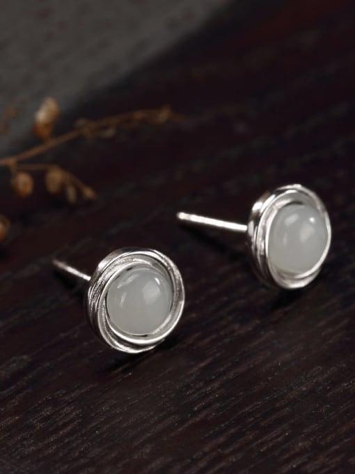 White jade 925 Sterling Silver Jade Geometric Cute Stud Earring