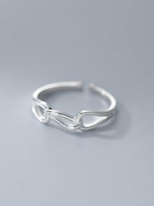 Rosh 925 Sterling Silver Hollow Geometric Minimalist Band Ring 1