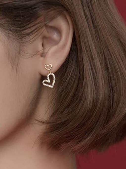 Rosh 925 Sterling Silver Cubic Zirconia Heart Minimalist Drop Earring 2