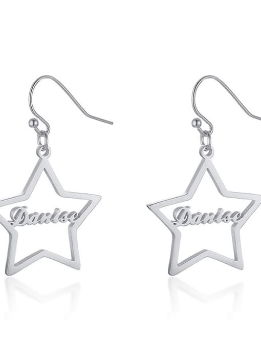 CONG Stainless steel  Hollow Star Minimalist Hook Earring 3