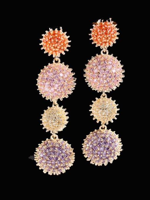 Color zirconium Brass Cubic Zirconia Geometric Luxury Drop Earring