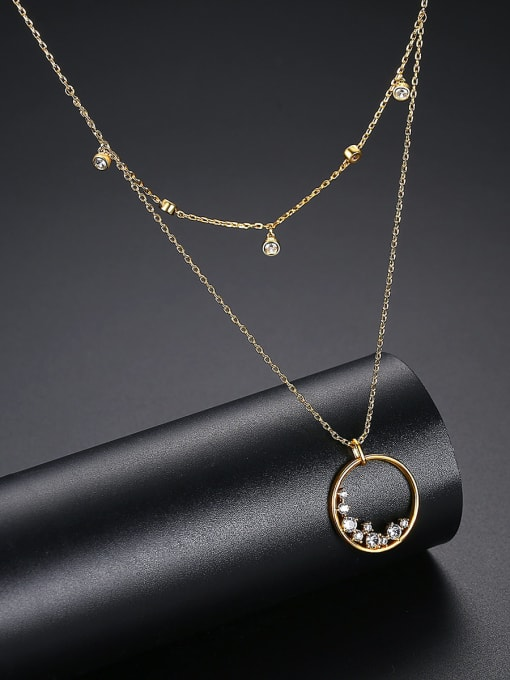 BLING SU Brass Cubic Zirconia Geometric Minimalist Multi Strand Necklace 2