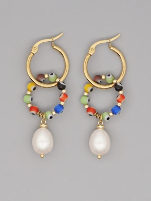 ZZ E200082A Stainless steel Freshwater Pearl Geometric Ethnic Drop Earring