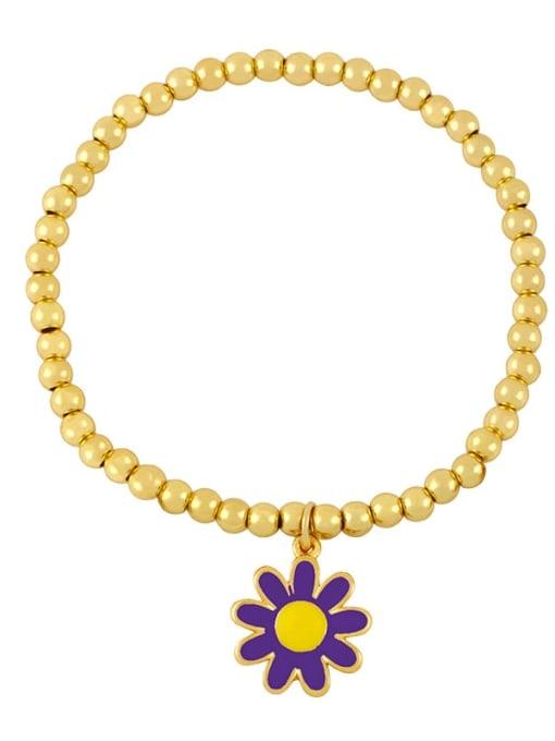 C (purple flower) Brass Enamel Flower Vintage Beaded Bracelet