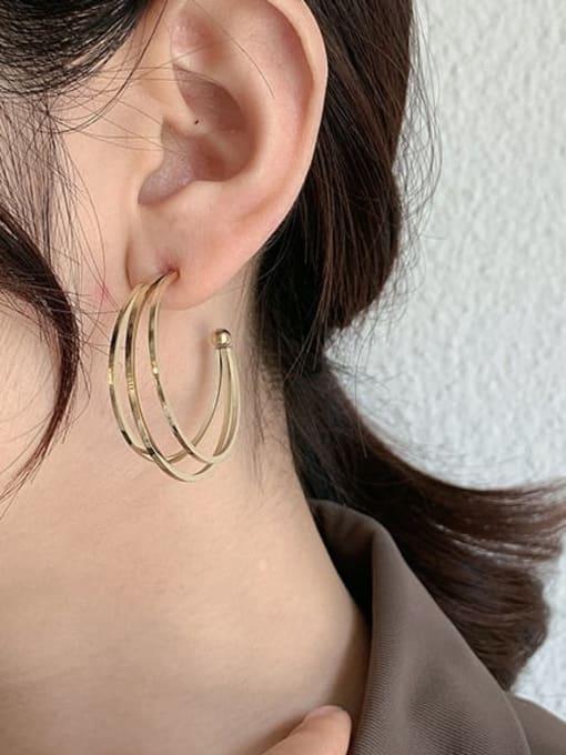 A TEEM Titanium Steel Geometric Minimalist Hoop Earring 1