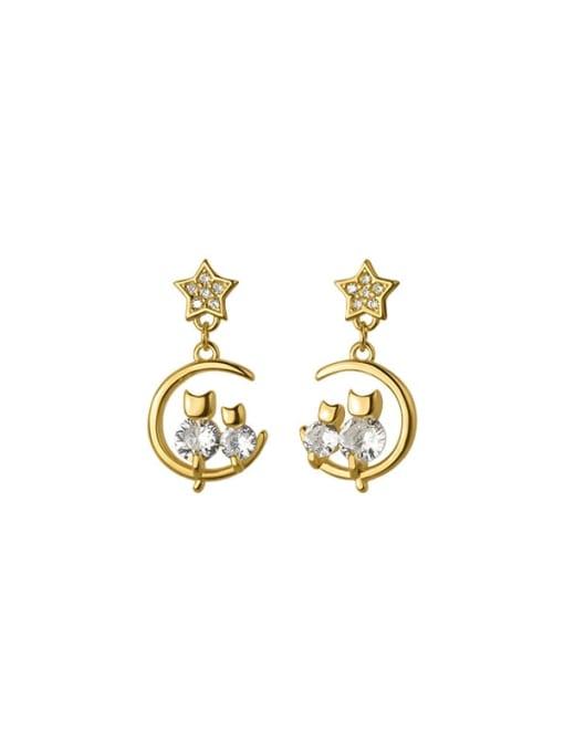 Rosh 925 Sterling Silver Cubic Zirconia Moon Dainty Drop Earring 3