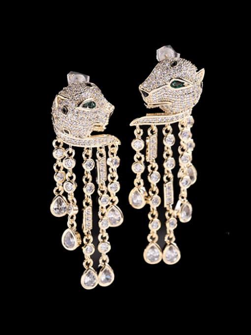 Luxu Brass Cubic Zirconia Leopard Vintage Drop Earring