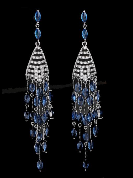 Luxu Brass Cubic Zirconia Tassel Ethnic Drop Earring 1