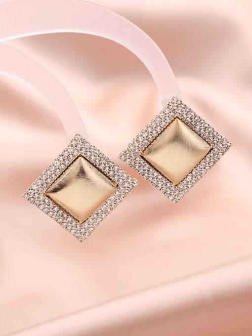 Luxu Brass Cubic Zirconia Geometric Trend Stud Earring