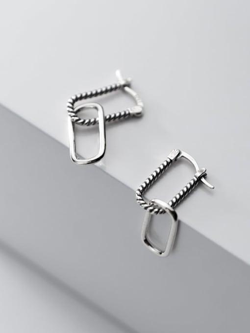 Rosh 925 Sterling Silver Hollow  Geometric Vintage Stud Earring 1