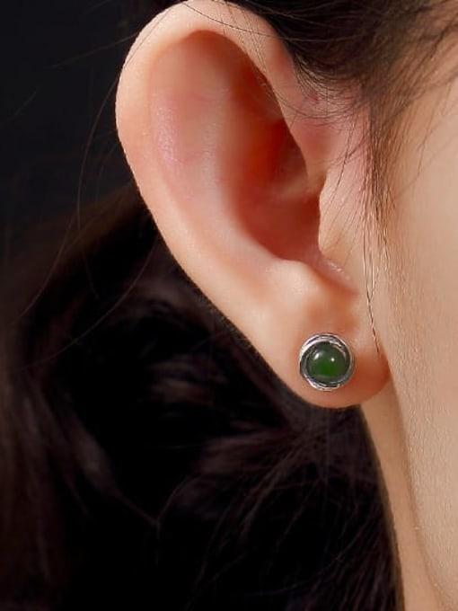 DEER 925 Sterling Silver Jade Geometric Cute Stud Earring 2