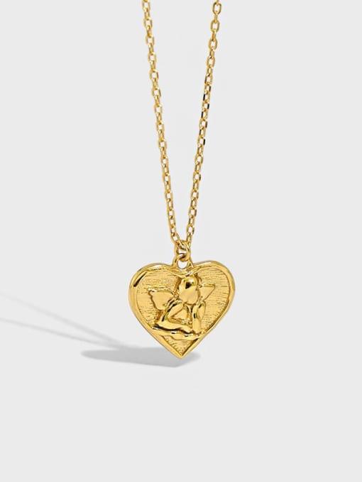 Dak Phoenix 925 Sterling Silver Heart  angel Vintage pendant Necklace 0