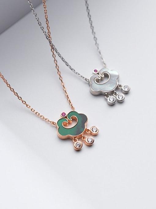 Rosh 925 Sterling Silver Enamel Cloud Vintage Necklace