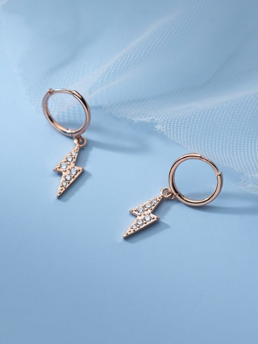 Rosh 925 Sterling Silver Cubic Zirconia Irregular Minimalist Huggie Earring 1