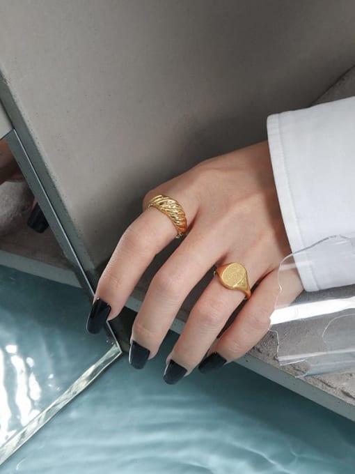 DAKA 925 Sterling Silver Geometric Minimalist Ring 3