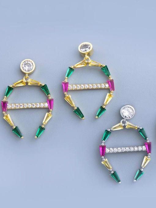 CC Brass Cubic Zirconia Geometric Statement Cluster Earring 3