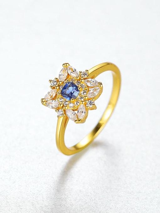 CCUI Brass Cubic Zirconia Flower Dainty Ring