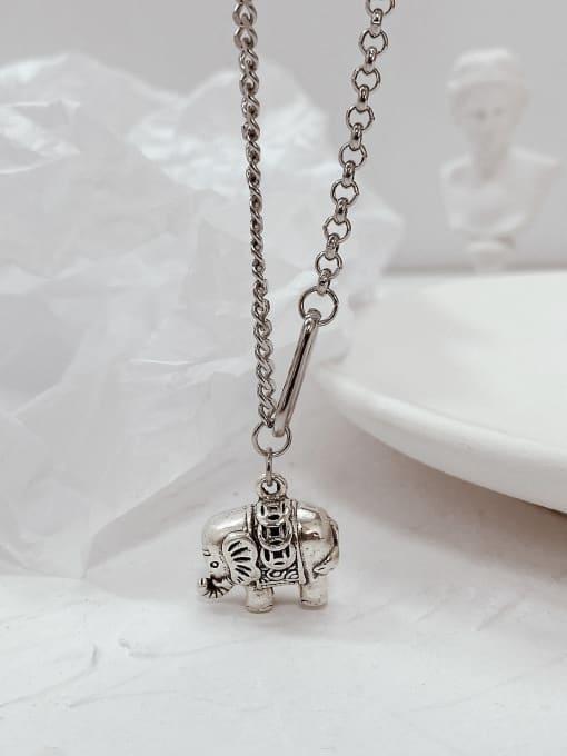 Open Sky Titanium Steel Elephant Vintage Long Strand Necklace 2