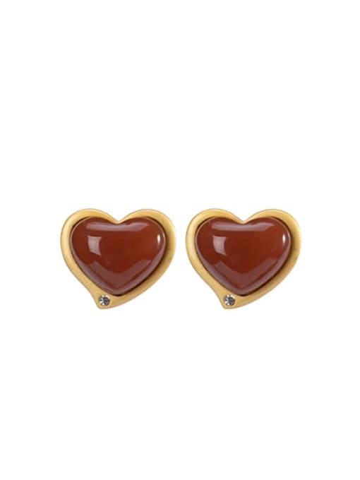 DEER 925 Sterling Silver Carnelian Heart Vintage Stud Earring 0