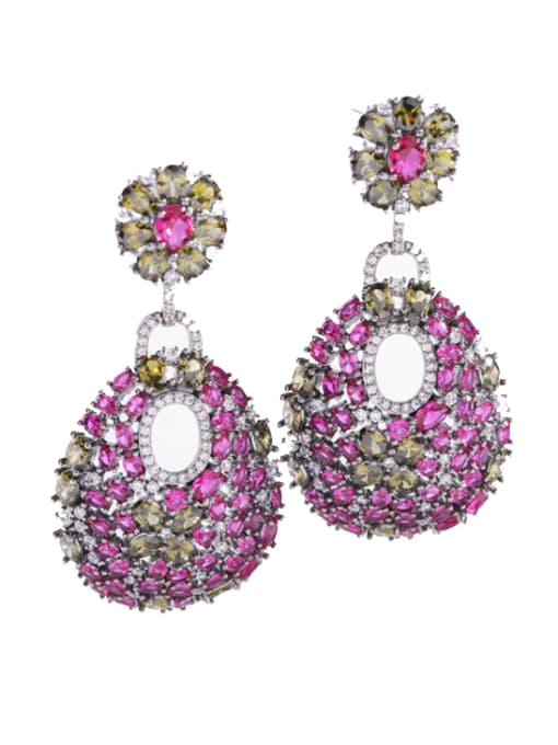 Rose red zirconium Brass Cubic Zirconia Water Drop Luxury Drop Earring