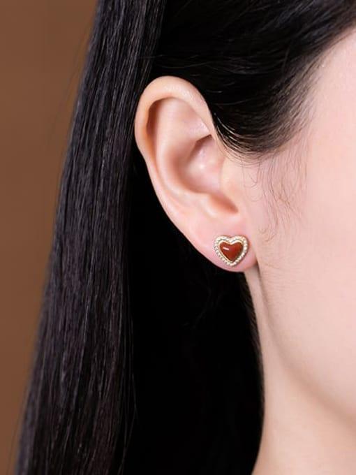 DEER 925 Sterling Silver Carnelian Heart Vintage Stud Earring 1