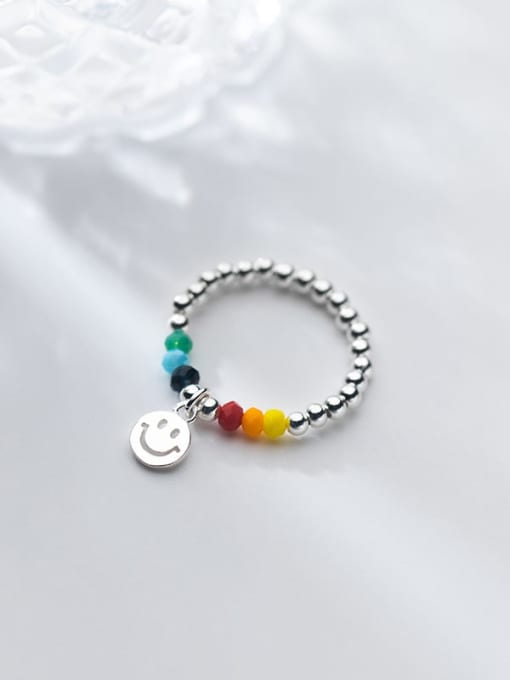 Rosh 925 Sterling Silver Bead Smiley Minimalist Band Ring 0
