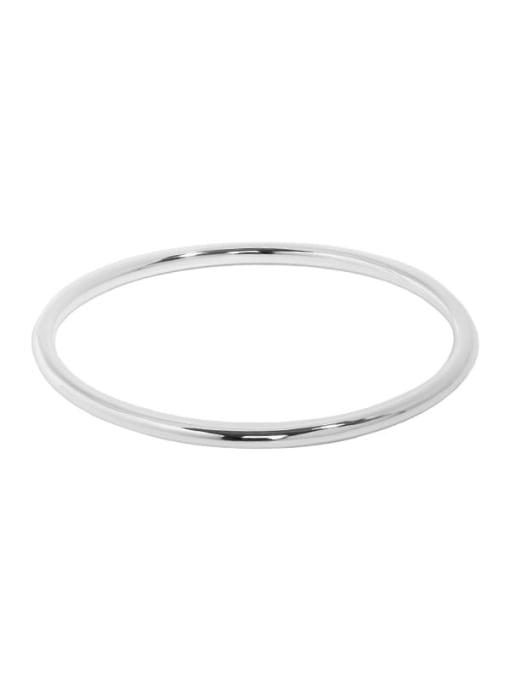 Plain silver 925 Sterling Silver Round Minimalist Band Bangle