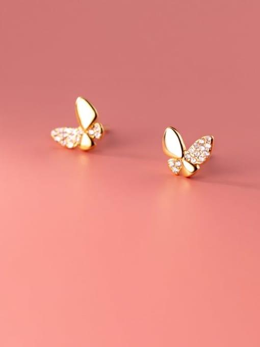 Rosh 925 Sterling Silver Cubic Zirconia Butterfly Cute Stud Earring 0