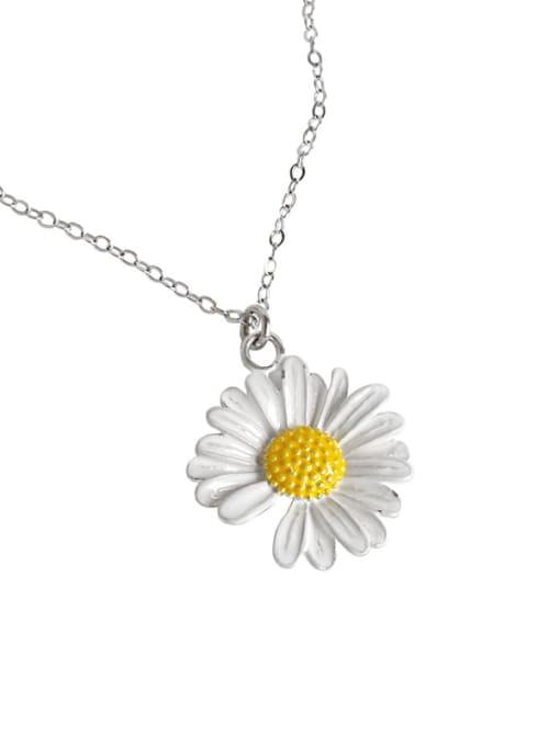 AI Fei Er 925 Sterling Silver Enamel Flower Minimalist Necklace 3