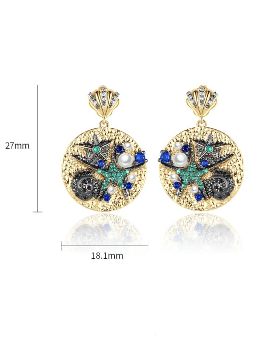 BLING SU Brass Cubic Zirconia Geometric Vintage Drop Earring 3