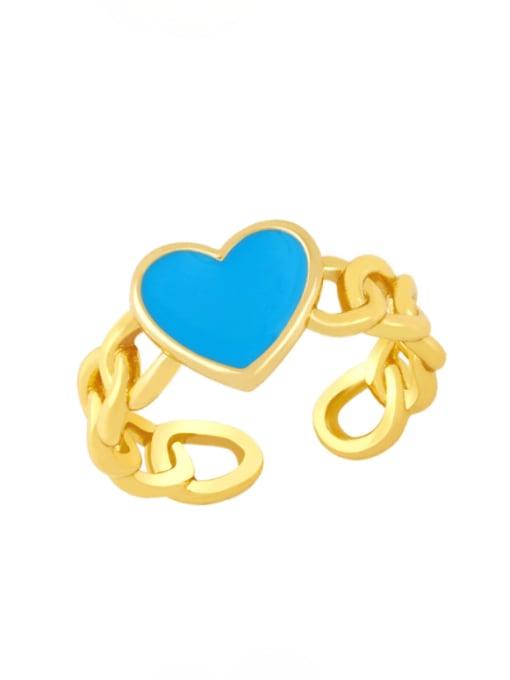 CC Brass Enamel Heart Vintage Band Ring 2