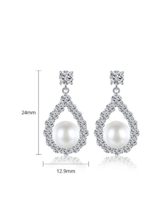 BLING SU Brass Cubic Zirconia Water Drop Luxury Drop Earring 3