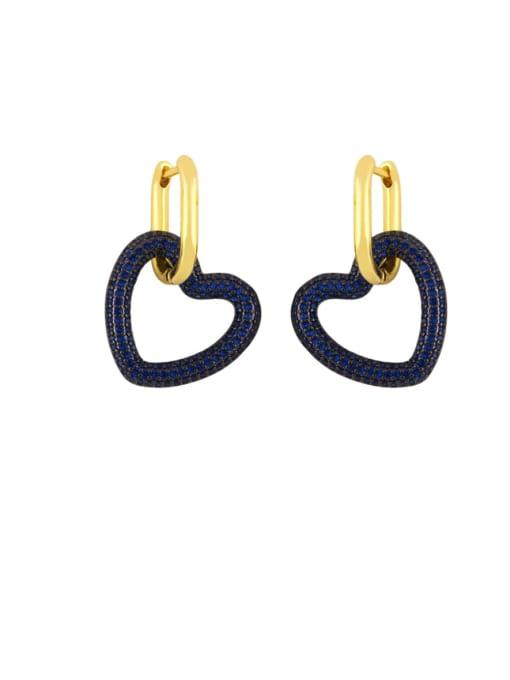 blue Brass Cubic Zirconia Heart Vintage Huggie Earring