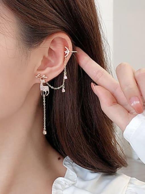 Luxu Brass Cubic Zirconia Deer Trend Stud Earring 1
