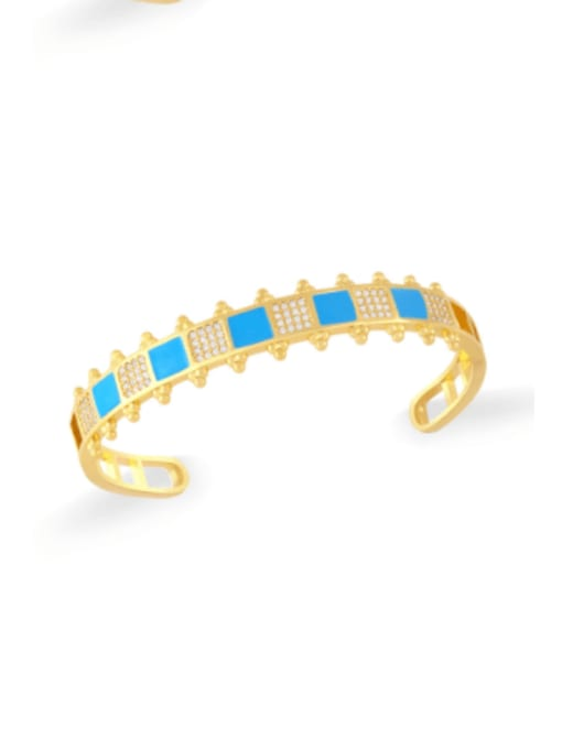 blue Brass Cubic Zirconia Multi Color Geometric Vintage Cuff Bangle