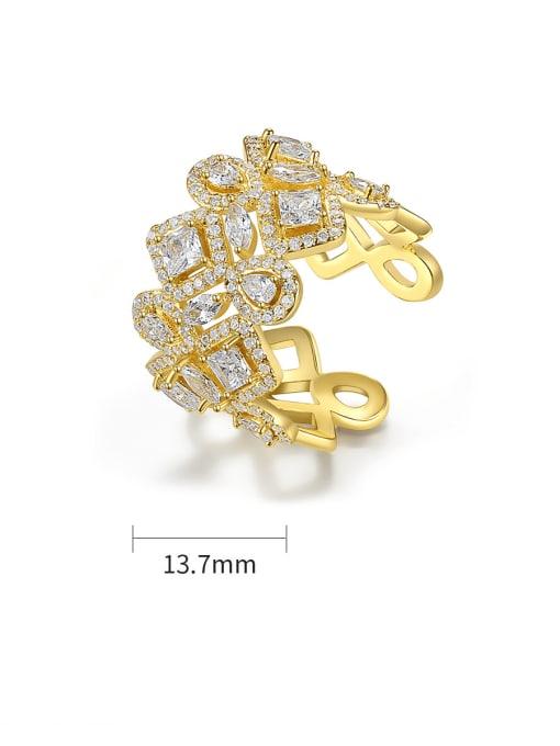 BLING SU Brass Cubic Zirconia Geometric Dainty Band Ring 4