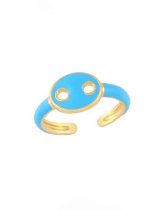 blue Brass Enamel Geometric Minimalist Band Ring