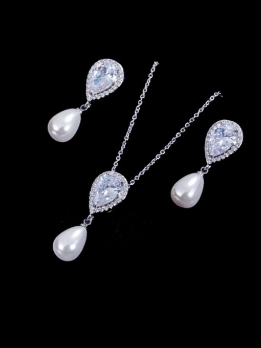 platinum Brass Cubic Zirconia Dainty Water Drop  Earring and Necklace Set