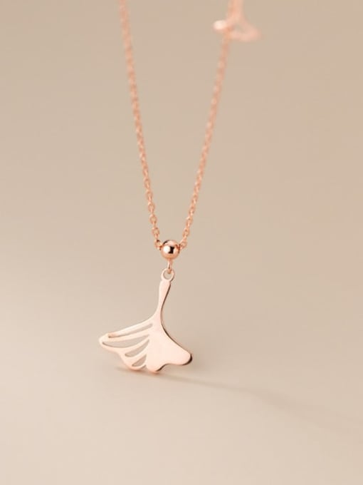 Rosh 925 Sterling Silver Hollow Tree Leaf Minimalist Necklace 3