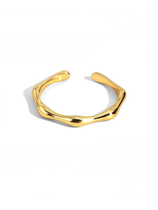 CHARME Brass Smooth Geometric Statement Band Ring 0