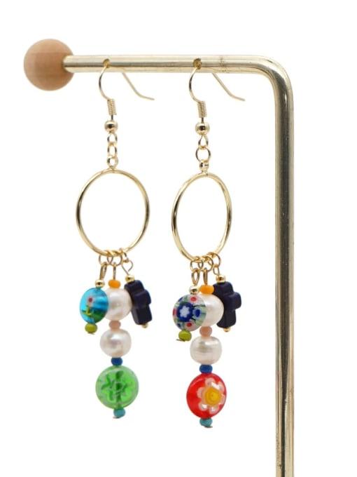 ZZ E200056E Stainless steel Freshwater Pearl Multi Color Glass beads Ethnic Long   Hook Earring