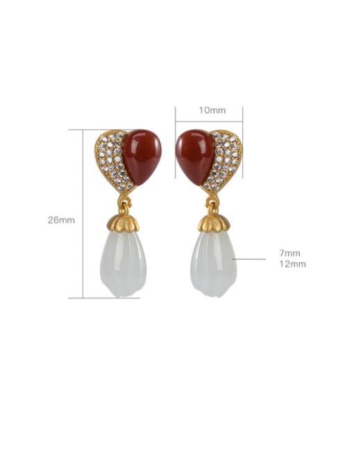 DEER 925 Sterling Silver Carnelian Heart Vintage Drop Earring 3