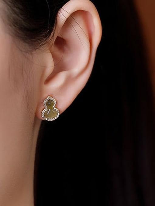 DEER 925 Sterling Silver Jade Irregular Vintage Drop Earring 2